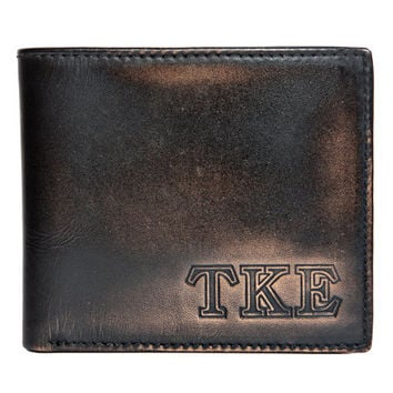 TAU KAPPA EPSILON Bifold Wallet - Mens Wallet - Leather Wallet - Bifold