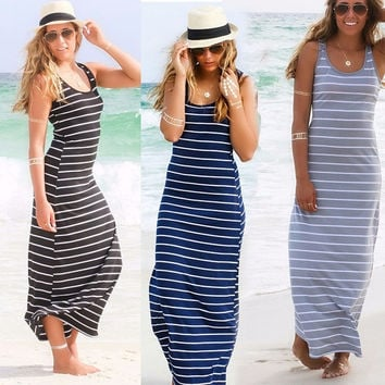 Women Summer Striped Boho Evening Party Long Maxi Beach Dress Cotton Vest Dress = 1955630596