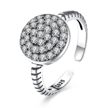 Sterling Silver Pandora Inspired Geo Pave Adjustable Ring