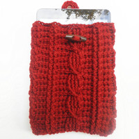 Cable Stitch Mini Tablet or e-Reader Cozy in Rust, ready to ship.
