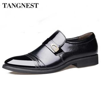 Tangnest Brand Men Patent Leather Oxfords Fashion Pointed Toe Business Flats For Man Slip On Dress Shoes Man Formal Shoes XMP739