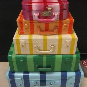 Jez4U Vintage Stack of Suitcases Handpainted and Original by Jez4U