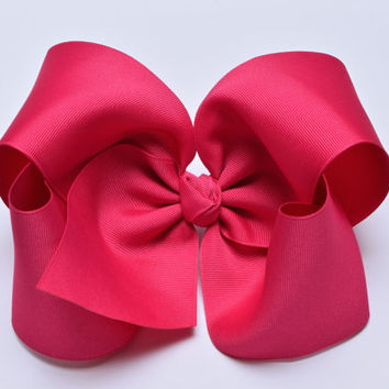 Shocking Pink Hair Bow, Extra Large Hair Bow,  Big Hair Bow, 6 Inch Hair Bow, Girl Hair Bows, Cheer Bows, Boutique Hair Bow, 600