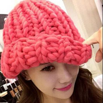 DCCKJG2 Women Winter Warm Hat Handmade Knitted Coarse Lines Cable Hats Knit Cap Candy Color Beanie Crochet Caps Women Accessories