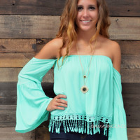 Eden Cove Mint Open Shoulder Top