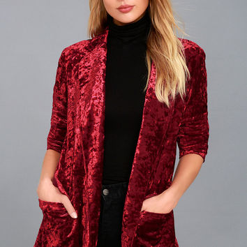 Back to Your Heart Wine Red Velvet Blazer