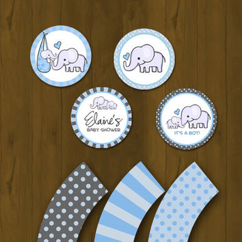 Blue Elephant Baby Shower Cupcake toppers with Free Cupcake Wrapper
