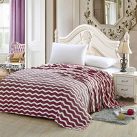 Chevron Modern Wave Burgundy Queen Size Ultra Plush Micro Fleece Blanket