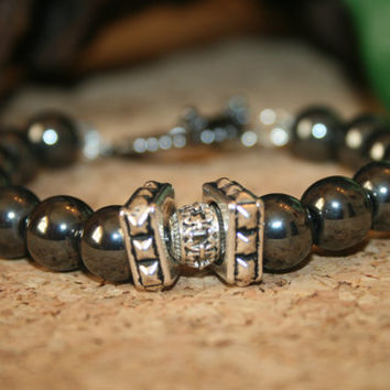 Men's Hematite Mala Bracelet, Healing Bracelet, Natural Stone Jewelry, Silver Bracelets, Gifts for Him, Men Bracelets, Healing Jewlery