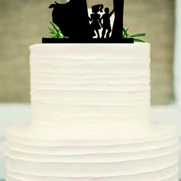family Wedding Cake Topper,Bride and Groom with little girl and little boy silhouette,Unique wedding cake topper,Rustic Wedding cake toppe