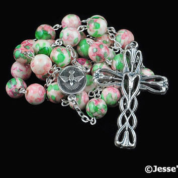 Anglican Rosary Pink Green Rain Flower Stone Prayer Beads Silver Christian Episcopal Rosary Beads