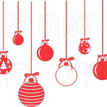 Christmas Ornaments vinyl decal - custom color