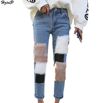 New Arrival Women Ankle-Length Pants Washed Jeans Vintage Trousers Faux Rabbit Fur Patchwork High-Waisted Women Denim Pants