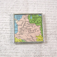 Colombia Vintage Map Magnet