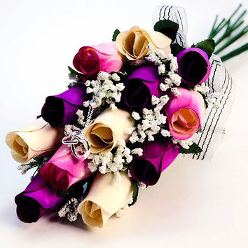 Scented White, Lavender and White with Lavender Tipped Wax Roses Bouquet