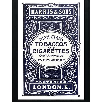"""Harris and Son's Tobacco Vintage Advertisement Poster Art - Blue - 13x19"""""""