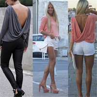 2015 NEW Women Casual Sexy Long Sleeve Draped V-back Loose T-Shirt Tops Blouses Tee _TQ = 1913128324