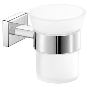 SCBA Enigma Wall Frosted Glass Toothbrush Toothpaste Holder Bath Tumbler - Brass
