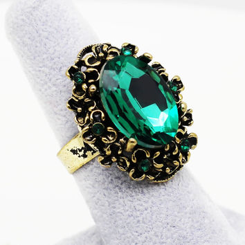 Antique Bronze Vintage Gold Green Crystal Stone Rhinestones Adjustable Ring Finger Jewelry Women Wedding Fashion 1105