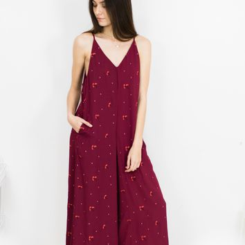 Embroidered Print Wide Leg Jumpsuit