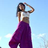 100% Organic Cotton Vibrant Jewel-Toned Deep Purple Harem Pants -Yoga Wear, Lounge Wear, Dance Wear, Spacious, Beautiful Colors