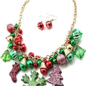 Christmas necklace set and Hook Earring - 10 3/4''