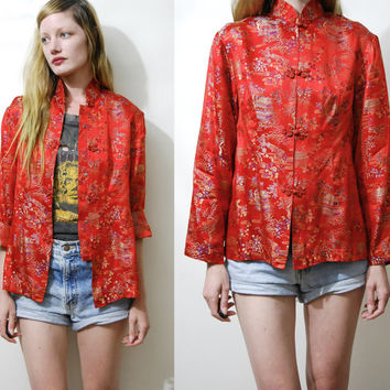 Embroidered Jacket 70s Vintage CHEONGSAM Blouse Red Satin Brocade Chinese Kimono Jacket Ethnic Oriental Shirt Boho Top 1970s vtg S