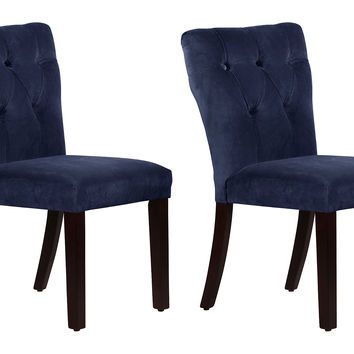 Navy Velvet Theo Side Chairs, Pair, Dining Chair Sets