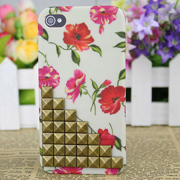 Brass Stud Little Red Flowers Hard Case Cover for Apple iPhone 4gs Case, iPhone 4s Case, iPhone 4 Hard Case