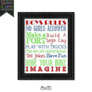 Playroom Decor Quotes Children's Wall Art Digital Printable File Instant Download DIY Children's Bedroom Decor Daycare - Boys Rules