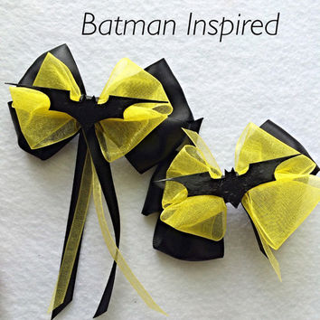 Justice League Hair Bow ~ Batman Inspired Hair Bow, Justice League Inspired Hair Bow, Batman Birthday Party Hair Bow, Superhero Hair Bow