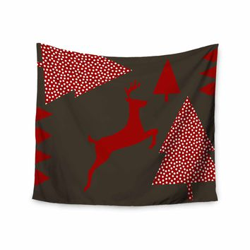 """bruxamagica """"Reindeer Brown"""" Brown Red Nature Holiday Illustration Digital Wall Tapestry"""