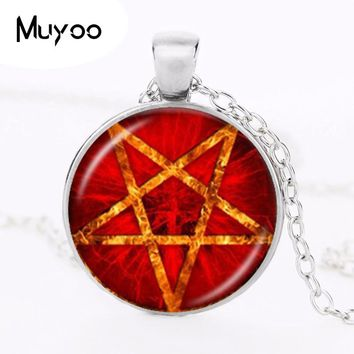 Red Black Pentagram Necklace Inverted Pentacle Pendant Gothic Wiccan Jewelry Glass Cabochon Occult Star Sweater Necklace HZ1
