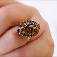 Dark Purple Rhinestone Cocktail Ring Adjustable