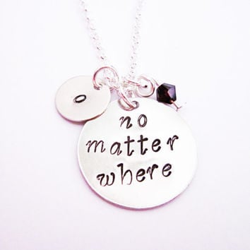 no matter where necklace initial necklace long distance personalized jewelry gift for best friend jewelry friendship bff necklace birthstone