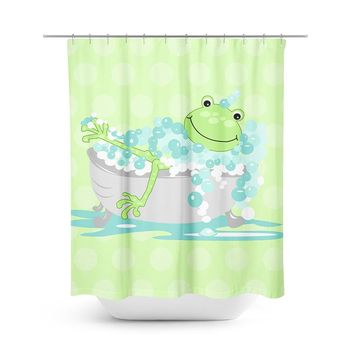 Frog In Tub Shower Curtain - Green