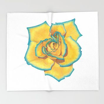 Yellow and Turquoise Rose Throw Blanket by drawingsbylam