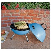"""Chefmate 14"""" Blue Charcoal Portable Grill"""