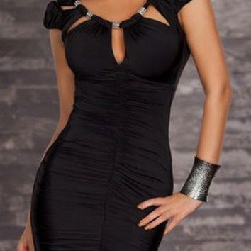 Puff Short Sleeve with Keyhole Neckline Ruched Bodycon Dress