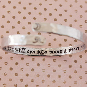 Let the water settle, moon and stars, Rumi personalized custom quote bracelet,inspirational yoga quote bracelet, ready to ship BA002