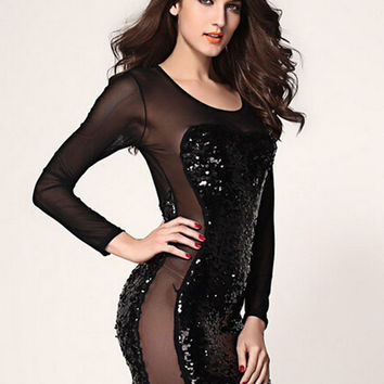 Black Sequined Long Sleeve Sheer Mesh Cut-Out Mini Bodycon Dress