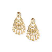 Oscar de la Renta Golden Crystal Filigree Drop Earrings