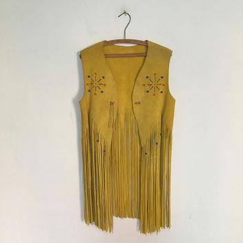 Vintage 70s LEATHER VEST / 1970s Beaded Leather Long Fringe Hippie Vest