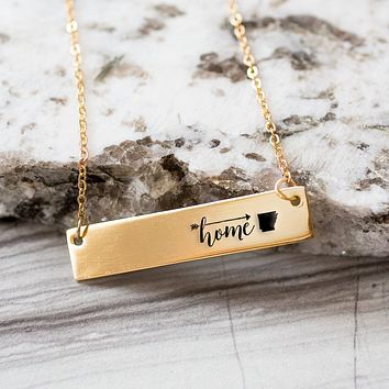 Home is Arkansas Gold / Silver Bar Necklace