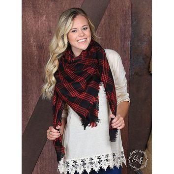 Let It Snow Plaid Blanket Scarf