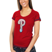 Majestic Philadelphia Phillies Ladies Bold Statement Fashion Top - Red
