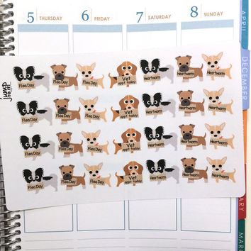 Dog/Puppy Flea Treatment, Heartworm & Vet Reminder Stickers - Erin Condren Happy Planner Sticker Sheets