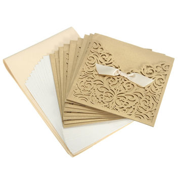 Hot Sale 10Pcs/set Romantic Champagne Gold Laser Cut Paper Invitations Card with Envelopes For Wedding Business Paper Crafts