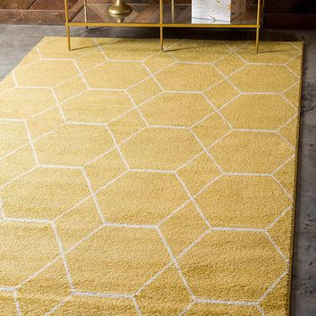0173 Yellow Moroccan Trellis Contemporary Area Rugs
