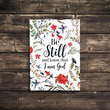 Be Still And Know That I Am God - 5x7 Writing Journal, floral custom notebook, faith, hard cover book, personalized gift, blank or lined